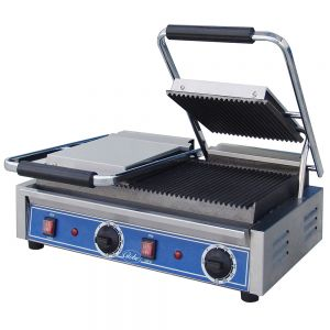 Bistro Size Double Panini Grill with Grooved Plates