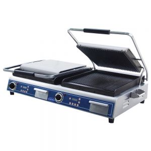"Deluxe Double 14"" Sandwich Grill with Grooved Top and Smooth Bottom Plates"
