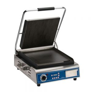 Deluxe Single Sandwich Grill with Grooved Top and Smooth Bottom Plates