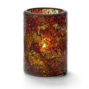 Crackle Lamp, Cylinder Style, Glass, Red and Gold, 4-1/2H x 3-1/8 Diameter