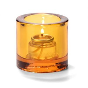 Tealight Lamp, Thick Glass, Round, Amber