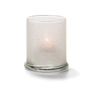 Votive Lamp, Cylinder Style, Glass, Clear Ice, 3-9/16 H x 3 Inch Diameter