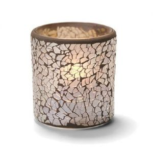 Crackle Votive Lamp, Glass, Gold Frosted, 3-1/4H x 3 Inch Diameter