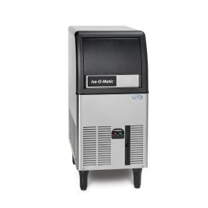 84 Lb Undercounter Gourmet Cube Ice Machine w/ 24 Lb Built-In Bin - Self-Contained Air-Cooled