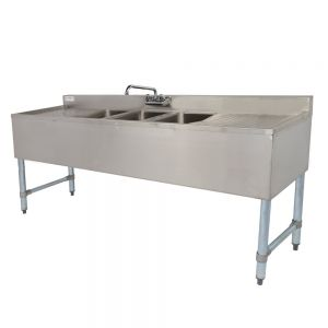 3 Bowl Under Bar Sink with Two 19 Inch Drainboards, 10 x 14 x 10 Inch Compartments, NSF