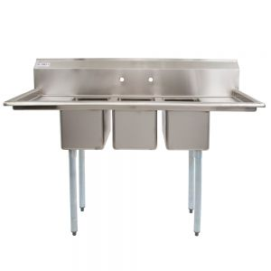 3 Compartment Stainless Steel C-Store Sink w/ 12 Inch Left & Right Drainboards