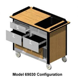 Hydration/Nutrition Cart, 44-1/2L x 24-1/2W x 37-3/4H, Top Chilled Pan, 2 Each Chilled Pan Drawers,