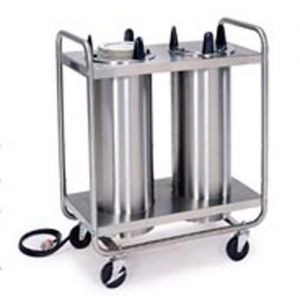Dish Dispenser, Heated, Two Self-Leveling Dish Dispensing Tubes, Maximum Dish Size 12-1/4 Diameter