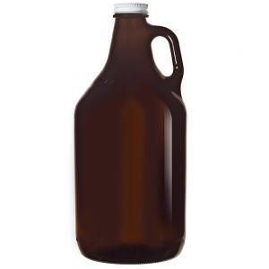 Libbey 70217 64 oz. Amber Growler with White Lid - Case of 6