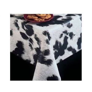 Vinyl Tablecloth, 15 Yard Roll, Designer Series, Moo, Black/White