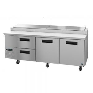 """Hoshizaki PR93A-D2 Steelheart 93"""" Pizza Prep Table with Two Doors and Two Drawers"""