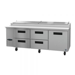 """Hoshizaki PR93A-D4 Steelheart 93"""" Pizza Prep Table with Four Drawers and One Door"""