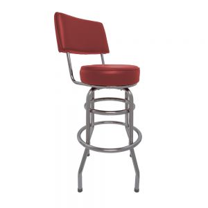 Swivel Barstool w/ Red Vinyl Seat and Back