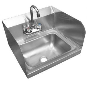 Wall Mounted Hand Sink with Faucet and Sidesplash, 17 Inches, NSF