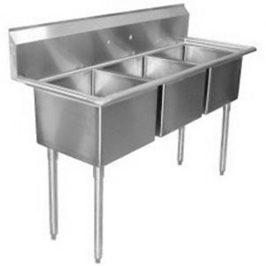 3 Compartment Stainless Steel Commercial Sink, 17 x 17 x 12 Inch Compartments, NSF