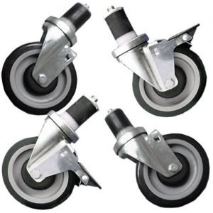 Set of 4 Inch Casters for Stainless Steel Worktables, 2 with Brake/2 without Brake