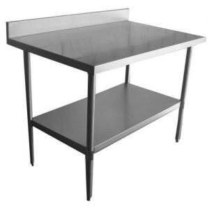 Stainless Steel Worktable with Rear Edge Up, 30 x 48 Inches, NSF
