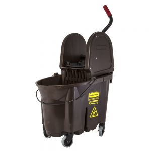 Mop Bucket Wringer Combo, Downward Wringer, Brown, 26 Qt.