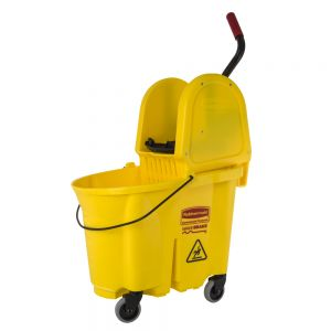 Mop Bucket Wringer Combo, Downward Wringer, Yellow, 26 Qt.