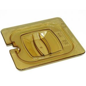 Sixth Size Amber Food Pan Cover, Notched