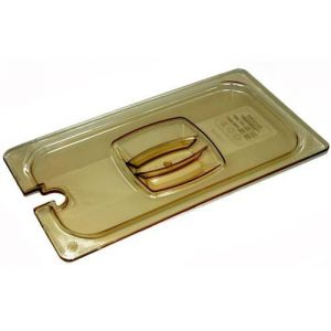 Third Size Amber Food Pan Cover, Notched