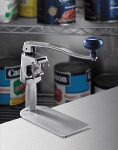 Manual Can Opener W/ 16 In Bar and Clamp Base and Extra Knife and Gear + Cleaning Tool