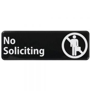 "Winco SGN-336 No Soliciting Sign - 3"" x 9"""