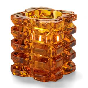 Tealight Lamp, Faceted Cube Style, Amber