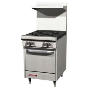 Commercial Range, 24 Inch, 4 Burners, 1 Oven, Gas