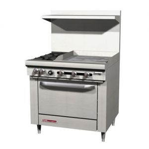 Commercial Range, 36 Inch, 2 Burners, 1 Oven, 24 Inch Griddle, Gas