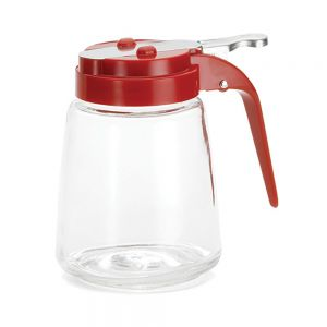 12 Oz Glass Syrup Dispenser with Red ABS Top - 12/Case