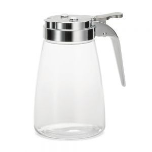10 Oz Polycarbonate Syrup Dispenser with Chrome Top - 12/Case