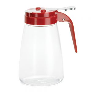 10 Oz Polycarbonate Syrup Dispenser with Red ABS Top - 12/Case
