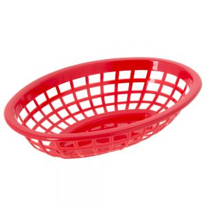 Oval Plastic Food Baskets 7-3/4x5-1/2 Red, Dz.