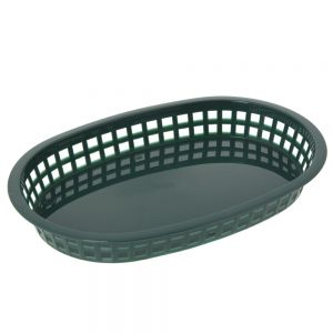 Oval Plastic Food Baskets 10.5x7 Forest Green, Dz.