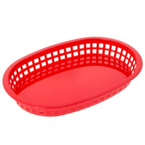 Oval Plastic Food Baskets 10.5x7 Red, Dz.