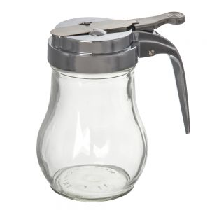 Glass Syrup Dispenser, 6 Oz., Chrome Top