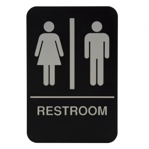 "Tablecraft 695633 Women / Men Restroom Sign - 6"" x 9"""