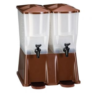 Double Tea Dispenser, 3 Gallon Tea Dispenser, Brown