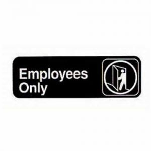 Employees Only Sign, 3x9 Inch Black