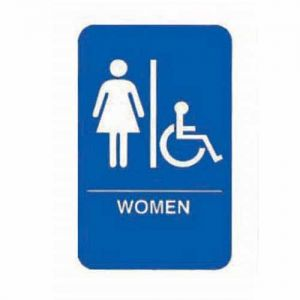 Women Accessible Sign, 6x9, Blue