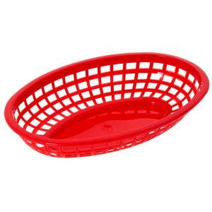 Oval Plastic Food Baskets 9x6 Red, Dz.