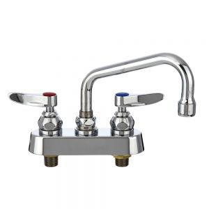 Deck Mounted Faucet with 6 Inch Swing Nozzle, 4 Inch Casters