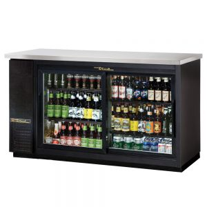 Stainless Steel Back Bar Cooler, 3 Section Sliding Glass Doors, 60 Inches