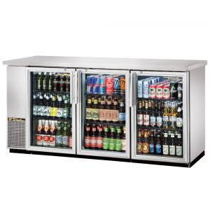 Stainless Steel Back Bar Cooler, 3 Glass Doors, 72 Inches