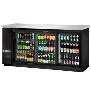 Back Bar Cooler, 3 Section Sliding Glass Doors, 72 Inches