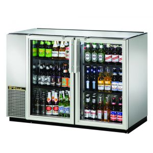 Back Bar Cooler, Galvanized Top, 2 Glass Doors, Holds 82 6-Packs, Stainless Ste