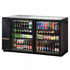 Back Bar Cooler, 2 Glass Doors, Galvanized Top, 60 Inches