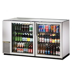 Back Bar Cooler, Galvanized Top, 2 Glass Doors, Holds 133 6-Packs, Stainless St