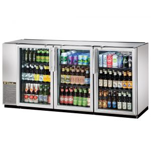 Back Bar Cooler, Galvanized Top, 3 Glass Doors, Holds 150 6-Packs, Stainless St